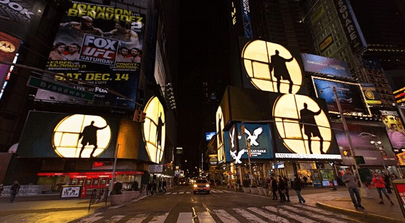 screening of Isaac Juliens Midnight Moment edition of PLAYTIME, Time Square, New York (USA)