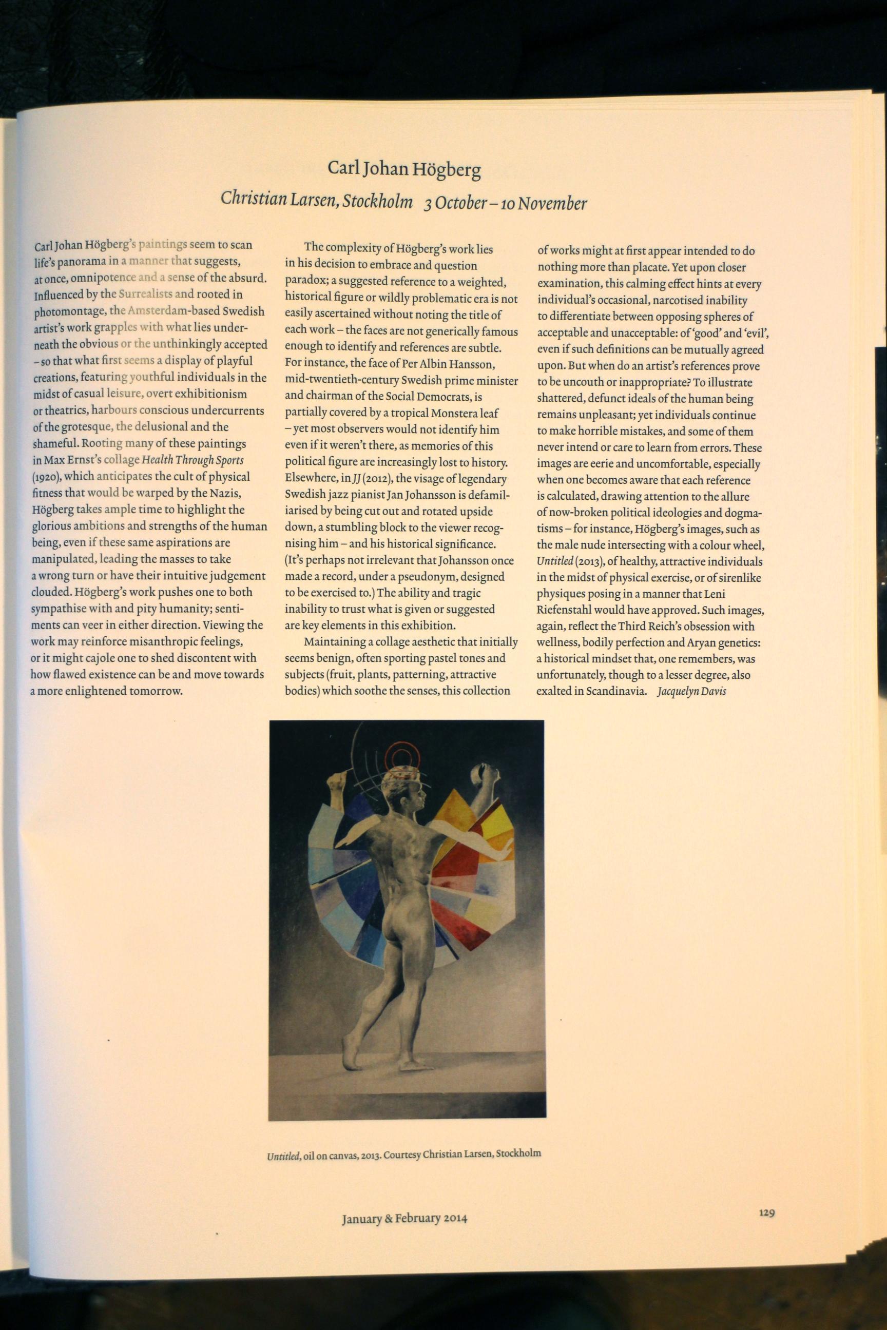 Carl-Johan Högberg published in  Art Review.