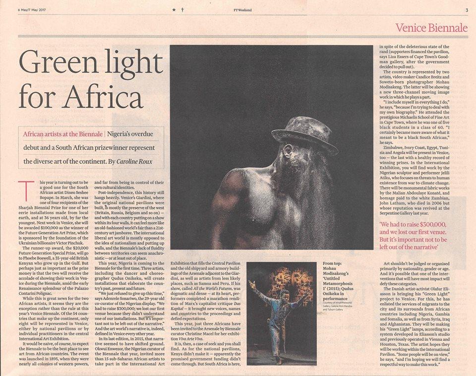 Mohau Modisakeng in the Financial Times