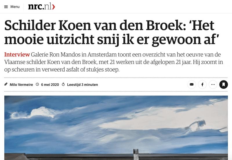 NRC: Schilder Koen van den Broek: 'Het mooie uitzicht snij ik er gewoon af'