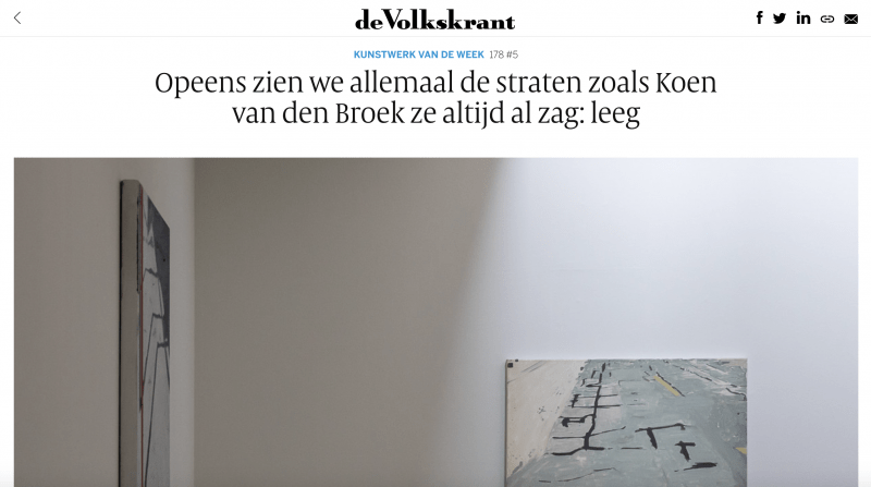 de Volkskrant: Opeens zien we allemaal de straten zoals Koen van den Broek ze altijd al zag: leeg